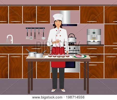 Young woman confectioner decorate desserts with pastry bag. Pastry-cook master class to make cakes on a domestic kitchen. Process cooking sweet. Vector illustration.