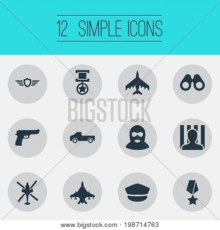 Vector Illustration Set Of Simple War Icons