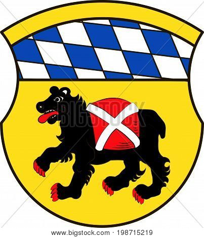 Coat of arms of Freising is a town in Upper Bavaria of Germany. Vector illustration from the
