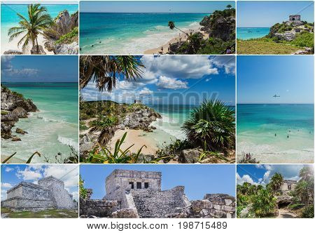 Mexico, a paradise beach in Tulum. Collage, postcard. Mayan civilization