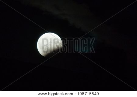 Partial Lunar Eclipse At Night In Summer