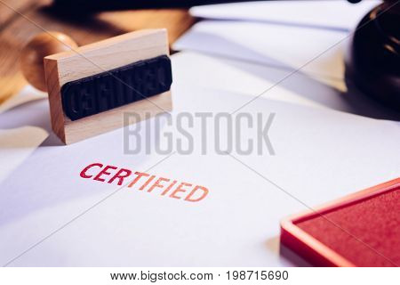 Red Certified Rubber Stamp