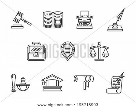 Symbols for justice and law. Private lawyer, defense in court and other elements of jurisprudence. Collection of simple black line design vector icons.