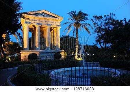 Neo-classical temple in a park in Valletta, Malta