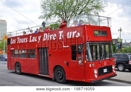 OTTAWA, CANADA - MAY 15, 2012: Double deck Lady Dive Tours bus in downtown Ottawa, Ontario, Canada.