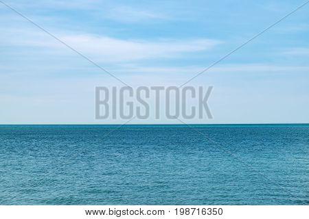 A simple seascape the blue sea and the clear sky in Langkawi Island, Malaysia. Abstract natural background