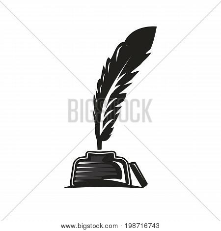 feather and ink pot illustration, icon design, isolated on white background.