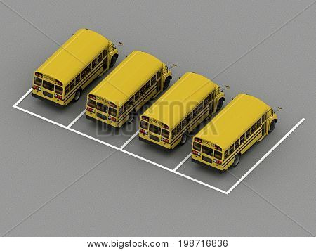 School bus parking Orthographic view. 3d rendering