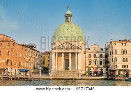 San Simeone Piccolo church at sunset in Venice, Italy. It was built in 1738 by Giovanni Antonio Scalfarotto.