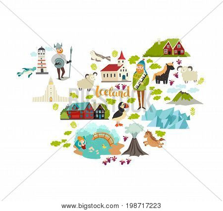 Iceland landmarks schematic map contour. Landmark icons of Iceland illustrated travel vector poster. Church houses lighthouse and moss