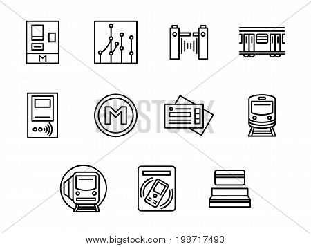 Symbols for city subway. Online mobile ticketing, metro train, routes and signs. Urban public transport. Collection of simple black line design vector icons.