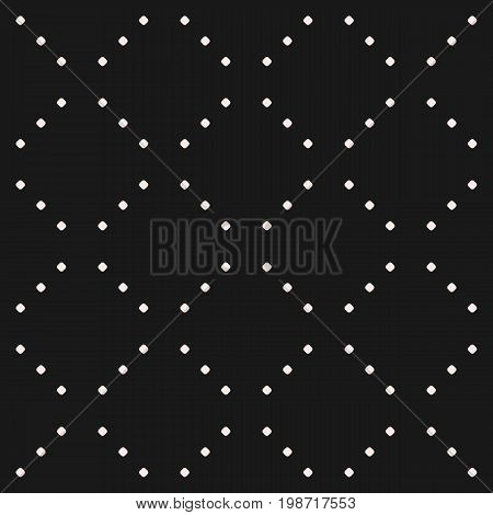 Vector minimalist seamless pattern, simple monochrome geometric texture with tiny circles, dotted, lines in diagonal grid. Square design, repeat tiles. Subtle abstract minimalistic dark background.