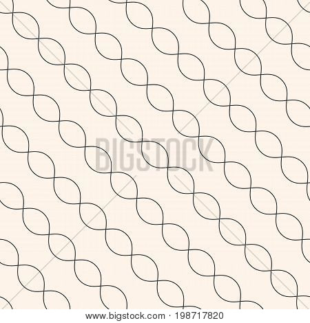Diagonal wavy lines seamless pattern. Subtle abstract geometric background. Minimalist endless texture. Thin curved waves chains DNA. Modern monochrome design for decor textile, furniture, covers.