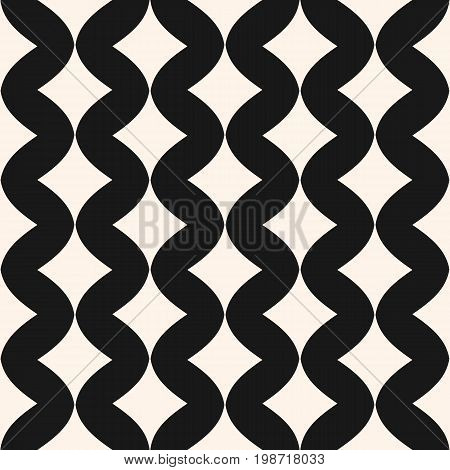 Art deco vector seamless pattern. Simple stylish monochrome geometric texture with smooth shapes, curved rhombuses. Elegant abstract luxury background. Repeat tiles. Design for decor, textile, cloth. Geometric pattern, rhombus pattern, wavy pattern.