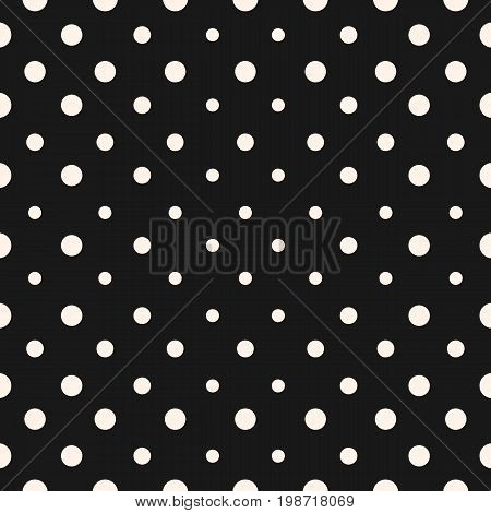 Vector geometric halftone seamless pattern with circles. Stylish abstract dots texture. Radial gradient transition, optical illusion effect. Dark monochrome background. Design for decor, cover, prints.