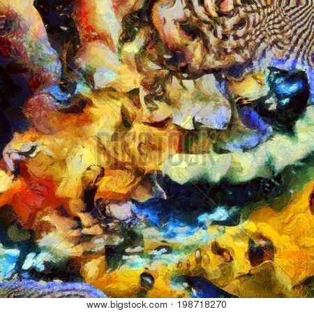 Complex surreal painting. Men with different thoughts and questions. Multilayered fractal.   3D rendering