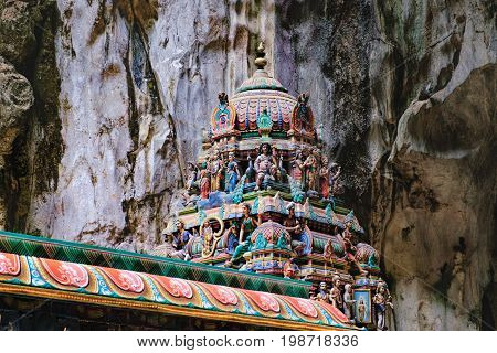 Indian Deity Statues decorating the Batu Caves, Malaysia. The cave is one of the most popular Hindu shrines outside India