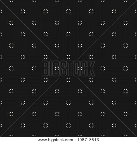 Universal vector seamless pattern. Simple black & white geometric texture. Abstract monochrome minimalist background with tiny floral shapes. Dark design for decor, digital, prints, covers, package.