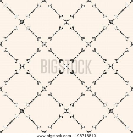 Vector seamless pattern, subtle geometric background in oriental style. Delicate diagonal lattice, thin lines. Abstract monochrome repeat texture. Light design for print, decor, textile, fabric, cloth. Design pattern.