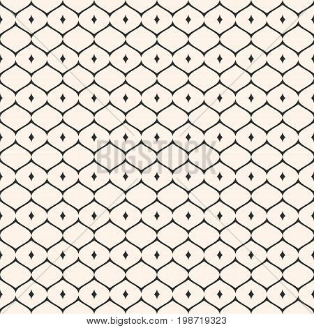 Oriental style seamless pattern, vector ornament texture with thin wavy lattice, curved lines. Elegant abstract monochrome geometric background. Design element for decoration, fabric, cloth.