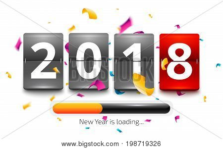 Happy New Year 2018 is loading. New year party flip clock counter. Red flip clock with loading bar and confetti explosion. Vector illustration