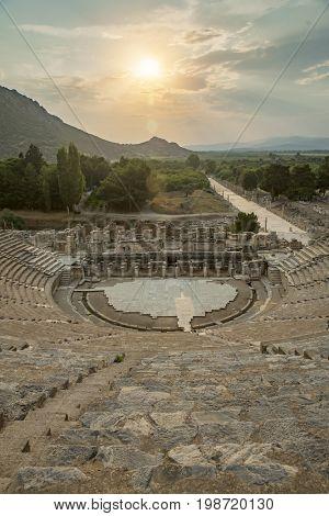 The Amphitheatre of Ephesus Ancient City in Turkey