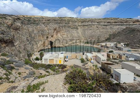 Small village near inland sea in Gozo, Malta