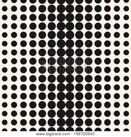 Halftone dots vector seamless pattern. Abstract geometric texture with different sized circles in horizontal rows. Monochrome background gradient, transition effect. Design for decor, digital, web. Dot pattern. Halftone background. Design pattern.