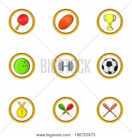 Sport icon set. Cartoon set of 9 sport vector icons for web isolated on white background