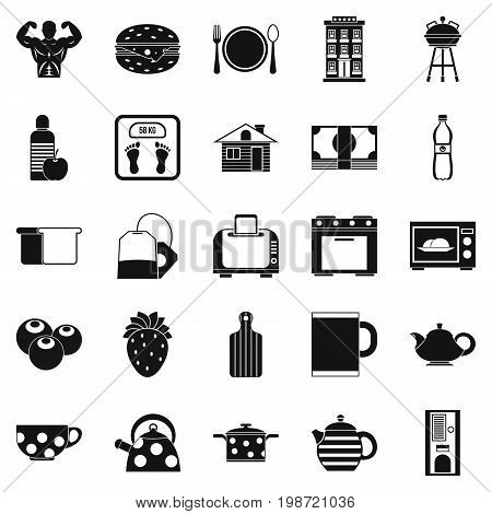 Morning tea icons set. Simple set of 25 morning tea vector icons for web isolated on white background