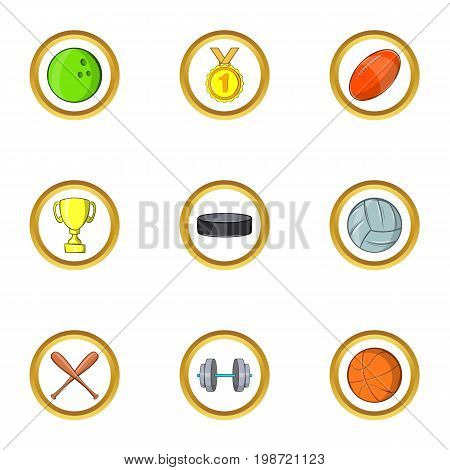 Team sport icon set. Cartoon set of 9 team sport vector icons for web isolated on white background