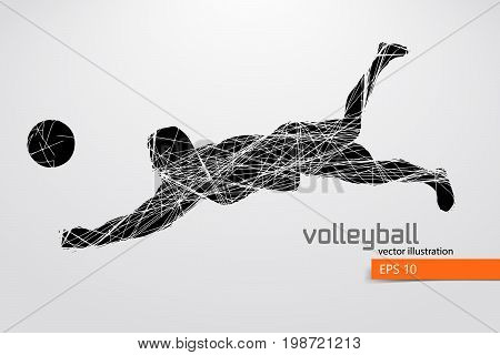 Silhouette of volleyball player. Background and text on a separate layer, color can be changed in one click. Vector illustration.