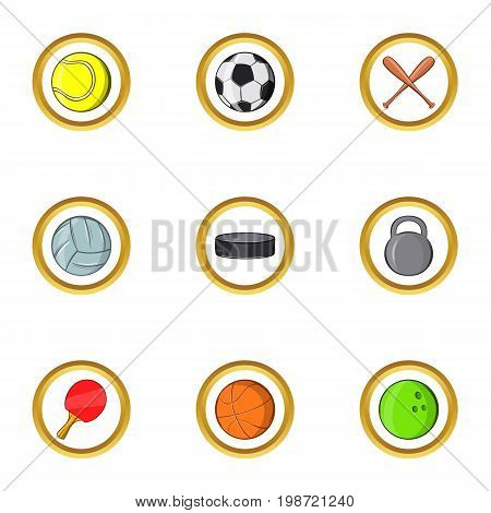 Classic sport icon set. Cartoon set of 9 classic sport vector icons for web isolated on white background