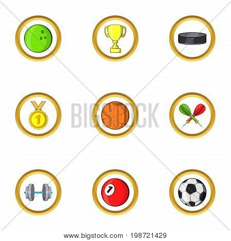 Summer sport icon set. Cartoon set of 9 summer sport vector icons for web isolated on white background