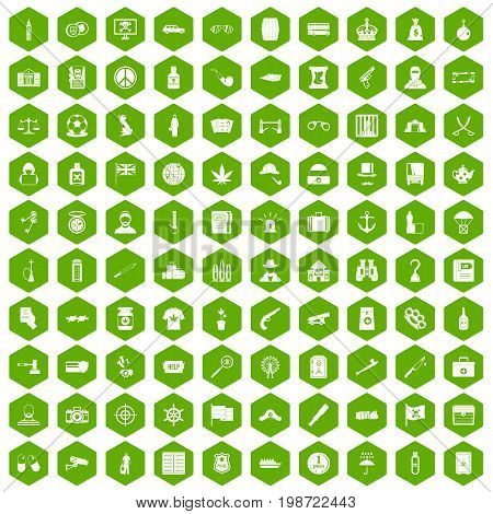 100 offence icons set in green hexagon isolated vector illustration