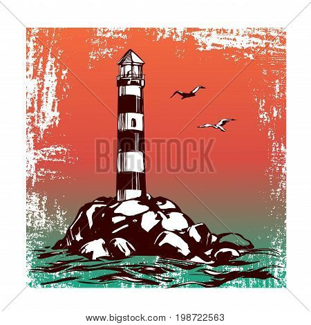 lighthouse and sea landscape hand drawn vector illustration realistic sketch