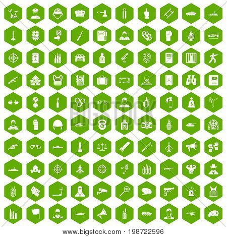 100 officer icons set in green hexagon isolated vector illustration