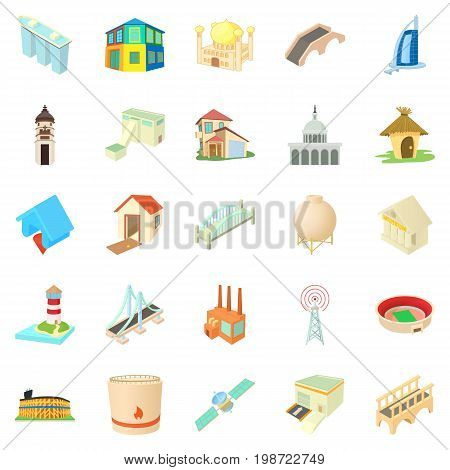 Facility icons set. Cartoon set of 25 facility vector icons for web isolated on white background