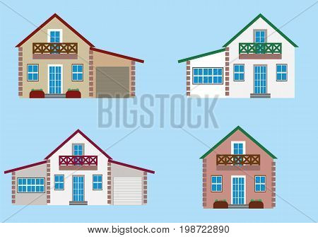Colorful residential house set vector illustration in flat design. Private residential architecture, cottage, real estate and family home icons.