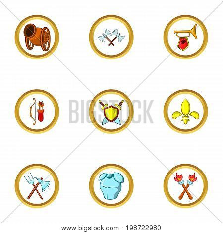 Medieval weapons icon set. Cartoon set of 9 medieval weapons vector icons for web isolated on white background