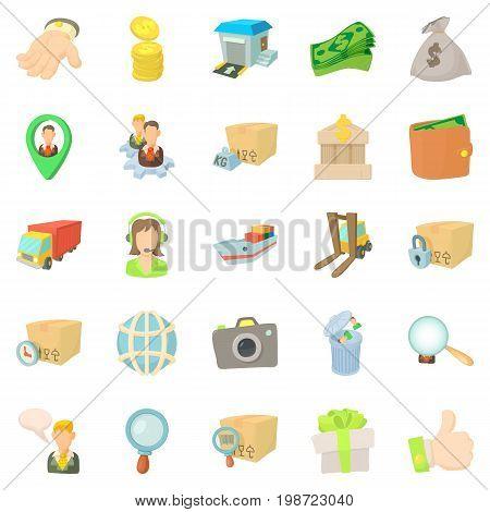 Encashment icons set. Cartoon set of 25 encashment vector icons for web isolated on white background