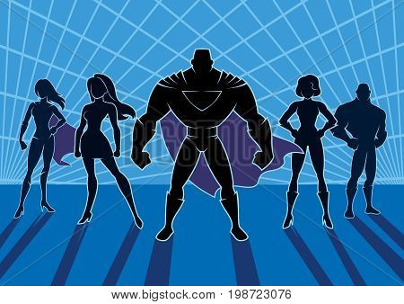 Cartoon illustration of a team of superheroes.