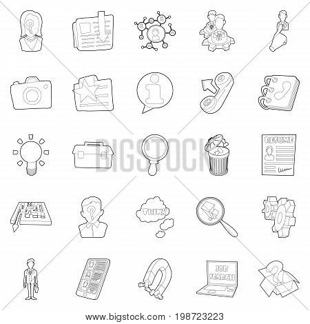 Sphere of activity icons set. Outline set of 25 sphere of activity vector icons for web isolated on white background