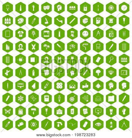100 paint icons set in green hexagon isolated vector illustration