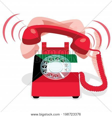 Ringing red stationary phone with rotary dial and with flag of  Kuwait