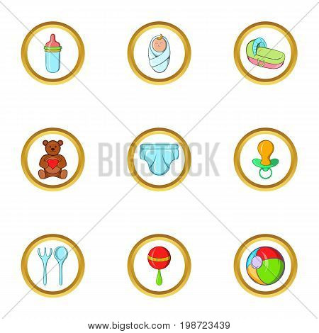 Childhood icon set. Cartoon set of 9 childhood vector icons for web isolated on white background
