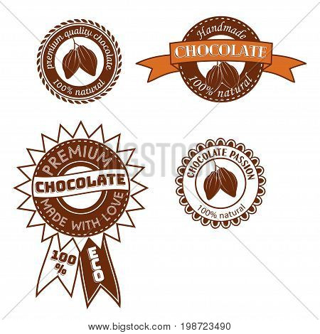 Set of vintage badge, label, logo template designs with cocoa beans for handmade chocolate shop. Vector illustration.