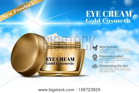 Women Day Cream for Eye and Face Elegant Bottle Mockup. Dazzling Blue Sky Background. Luxury Gold Contained Gloss Effect. Excellent Advertising. Cosmetic Ads Design Product. 3D Vector Illustration.
