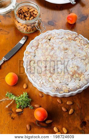 Crustless Apricot Frangipane Tart With Almonds And Aromatic Lemon Thyme
