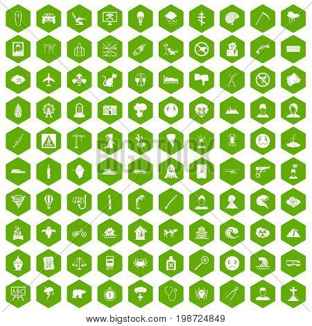 100 phobias icons set in green hexagon isolated vector illustration